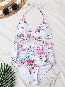 Strappy Lace Up High Waist Floral Bikini Set - Floral M