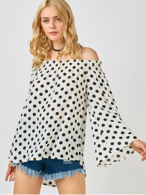 Top à épaules tombantes imprimé de Polka Dot - Blanc XL