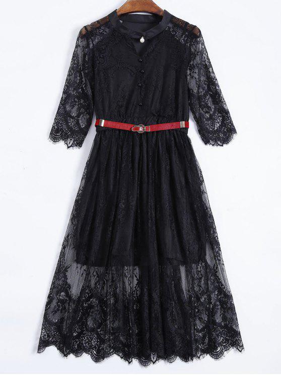 Abotonado vestido de encaje con cinturón - Negro L