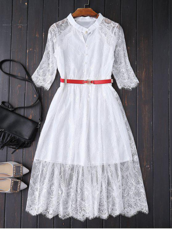 lady Buttoned Lace Dress With Belt - WHITE M
