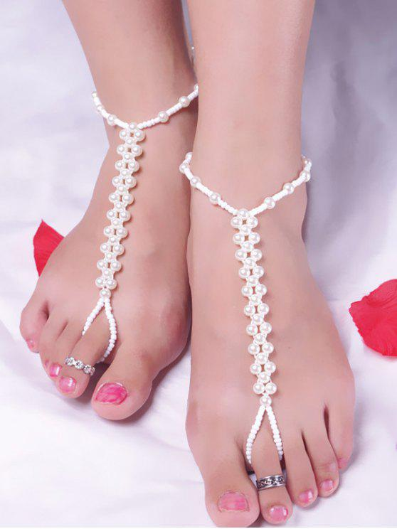buy Artificial Pearl Beaded Anklet - WHITE