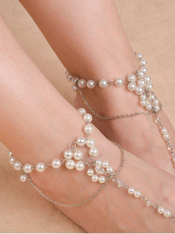 womens Artificial Pearl Beaded Chain Anklet - SILVER