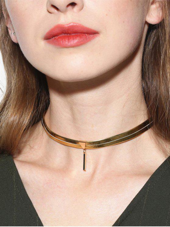 Kunstleder-Bar-Halskette - Golden