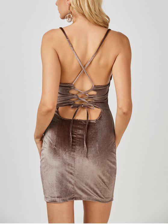 fashion Velvet Cross Back Bodycon Mini Dress - COFFEE L