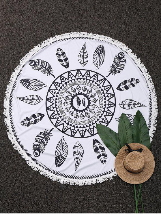 Planta redonda con flecos playa Throw - Blanco Única Talla