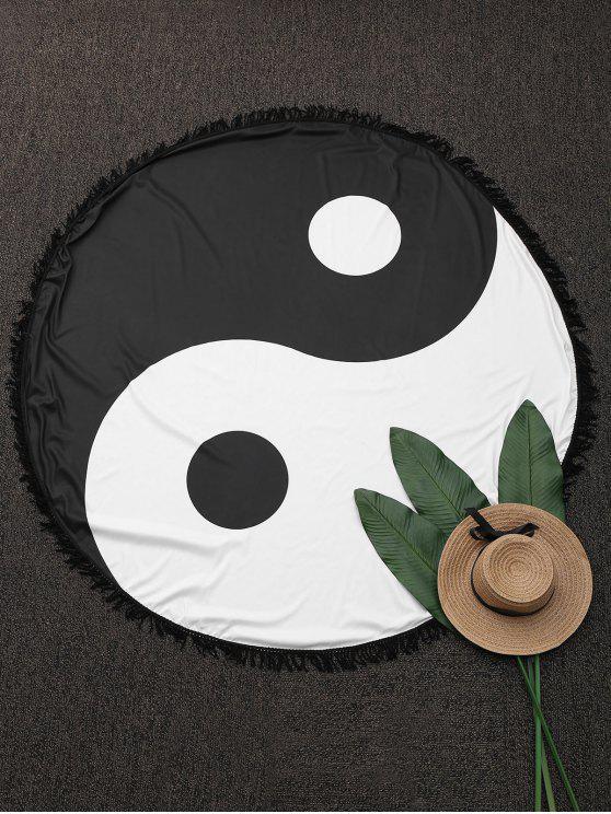 Manta de Playa Redonda con Color Bloque con Flecos - Negro Única Talla