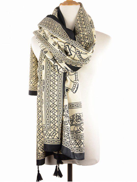 Écharpe géométrique imprimé éléphant tribal à franges - Noir