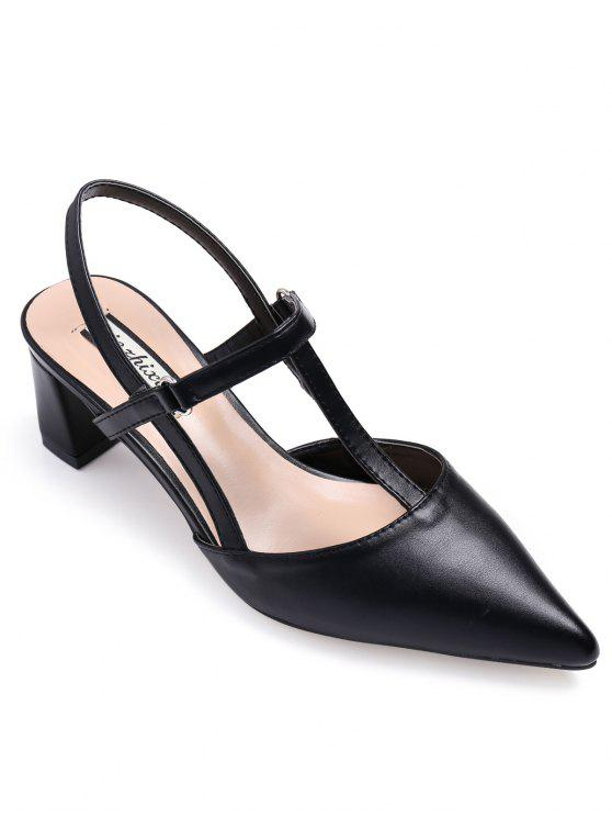 womens Slingback Chunky Heel T Bar Pumps - BLACK 39