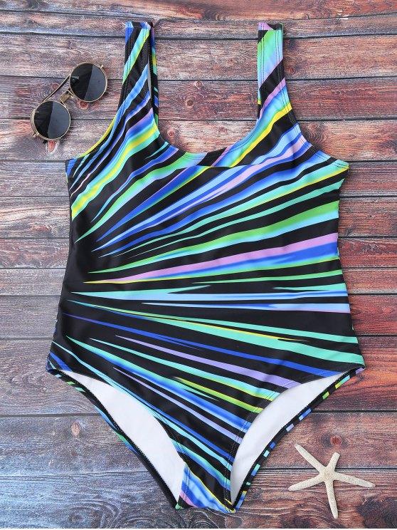 Maillots de bain à col en U en couleurs de blocage - Multicolore 2XL
