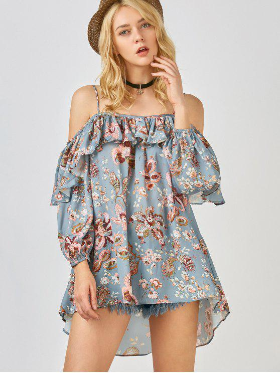ladies Frilly Printed Cold Shoulder Blouse - STONE BLUE S