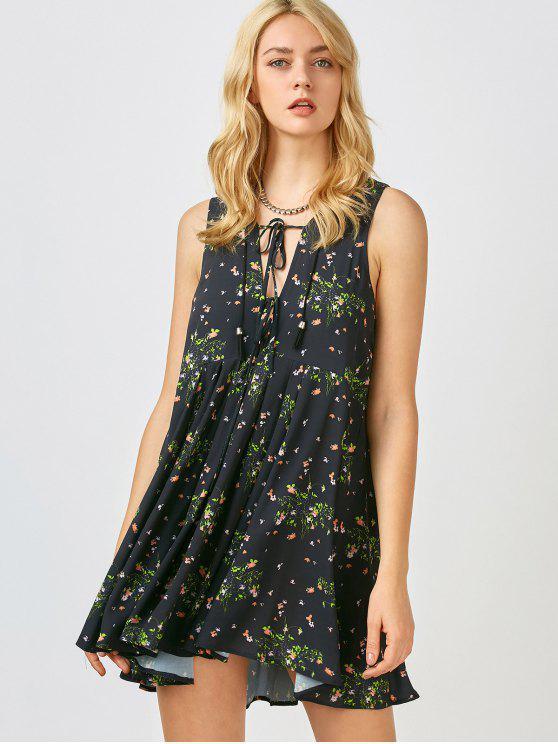Mini vestido floral de la gasa de Sun - Negro S