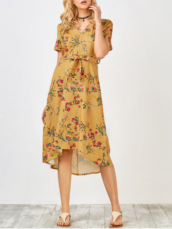 Vestido floral de la manga corta de longitud de té - Amarillo L