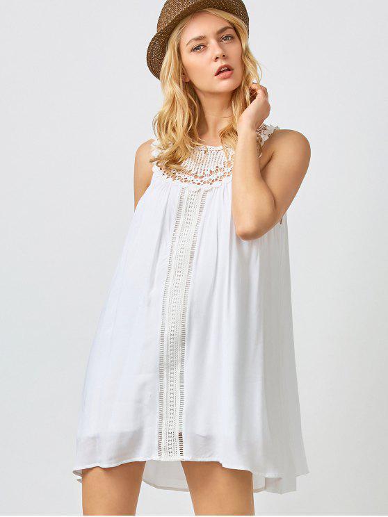 Mini vestido de verano de trapecio - Blanco L