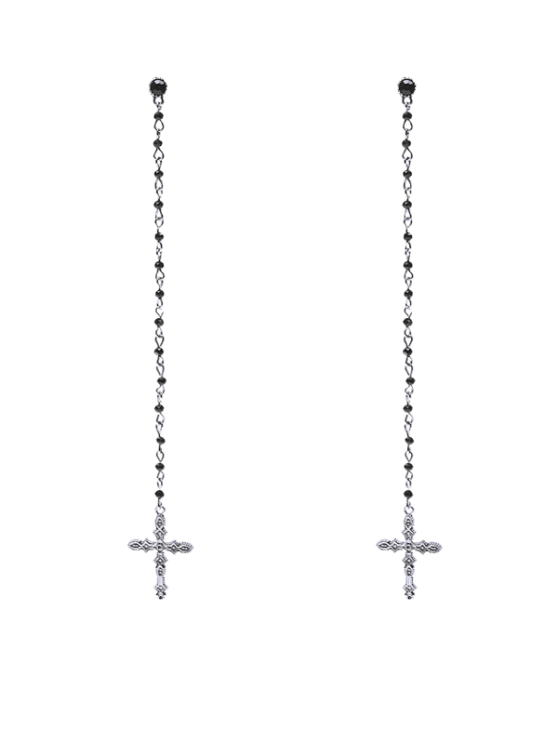 hot Rhinestone Crucifix Drop Earrings - SILVER