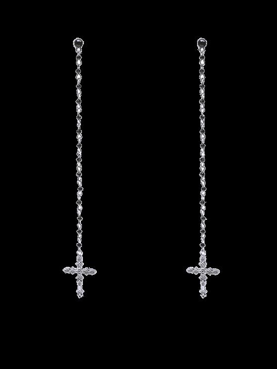 hot Rhinestone Crucifix Drop Earrings - SILVER