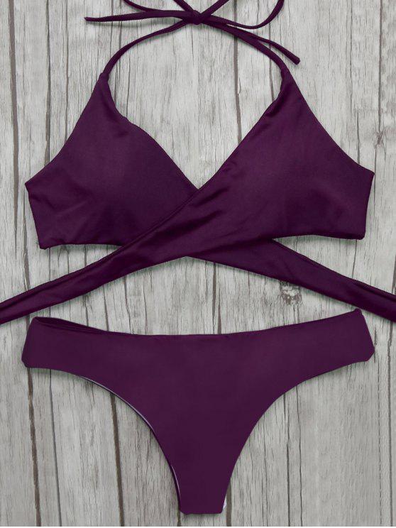 pantalon barroco y Bikini top delantero envuelto - Merlot S