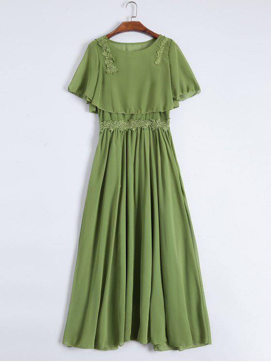 فستان ماكسي كامي مع بلوزة مقصرة - أخضر L