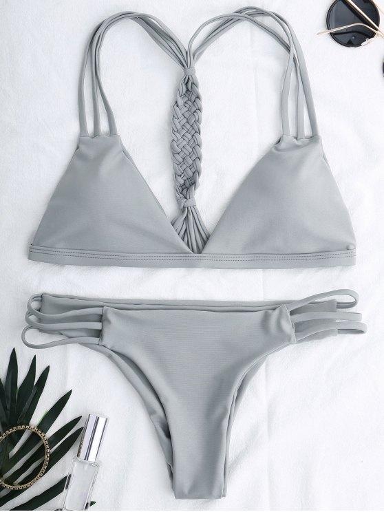 shop Cutout Strappy Bikini Set - GRAY S