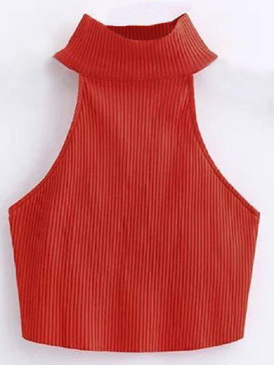 Recortada alto cuello acanalado Top - Rojo S