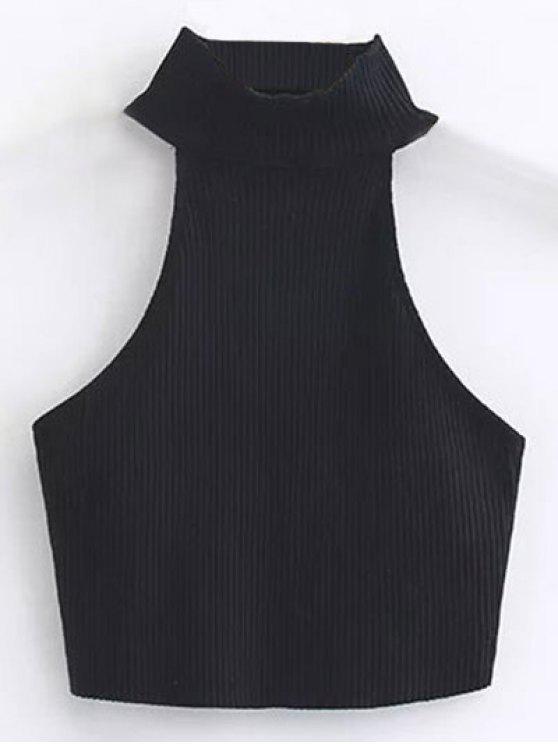 Recortada alto cuello acanalado Top - Negro M
