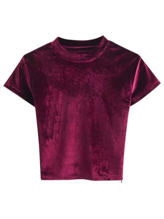 Velvet Crew Neck Cropped T-Shirt BURGUNDY: Tees M | ZAFUL