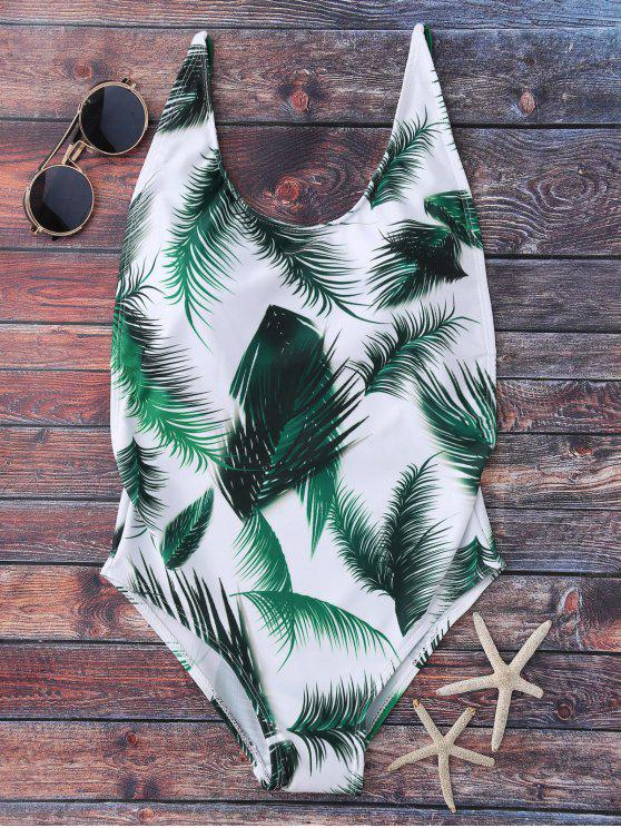 lady Crisscross Leaf Print Swimwear - WHITE M