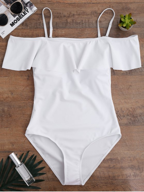unique Off The Shoulder Flounced One-Piece Swimwear - WHITE S