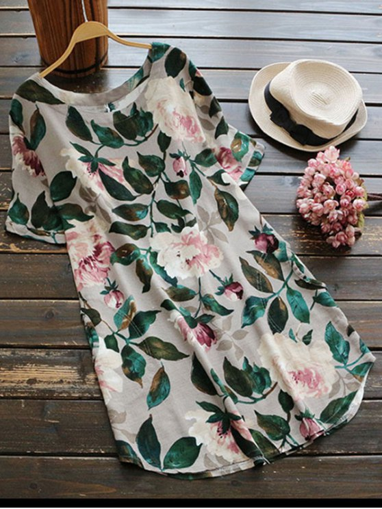 sale Casual Floral A-Line Dress - GREEN M