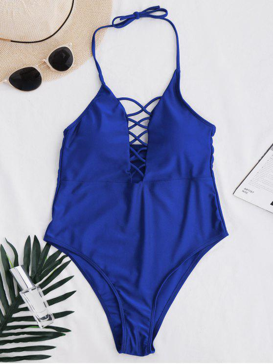 chic Cami Lace Up Swimsuit - ROYAL L