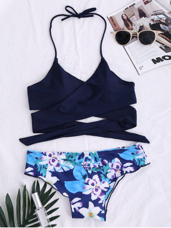online String Floral Panel Bikini Set - PURPLISH BLUE M