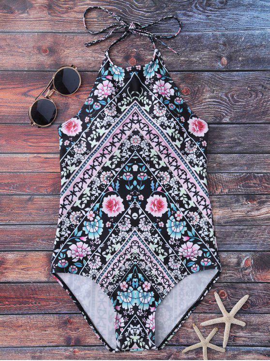 Maillot de bain à motif floral à col haut - Floral M