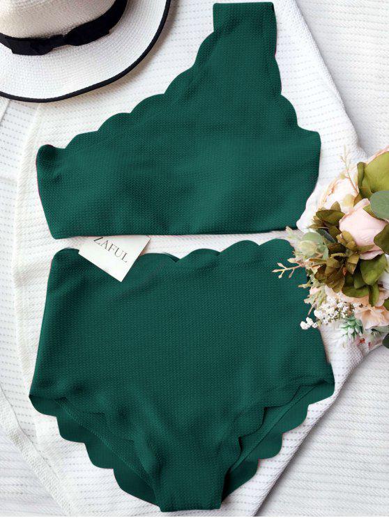affordable High Waisted Scalloped One Shoulder Bikini - BLACKISH GREEN L