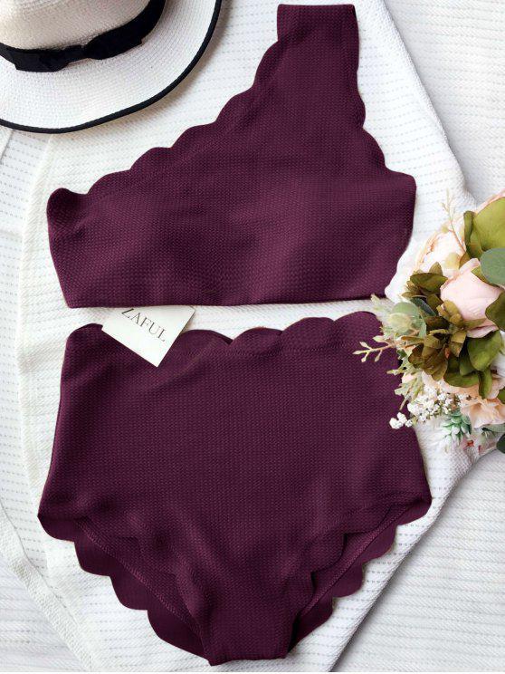 women's High Waisted Scalloped One Shoulder Bikini - MERLOT L