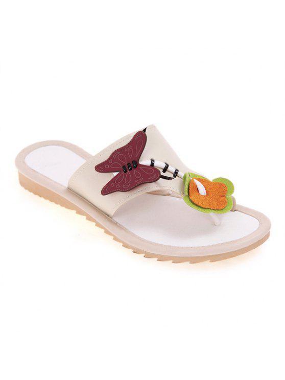 latest Butterfly Flat Heel Slippers - CANDY BEIGE 38
