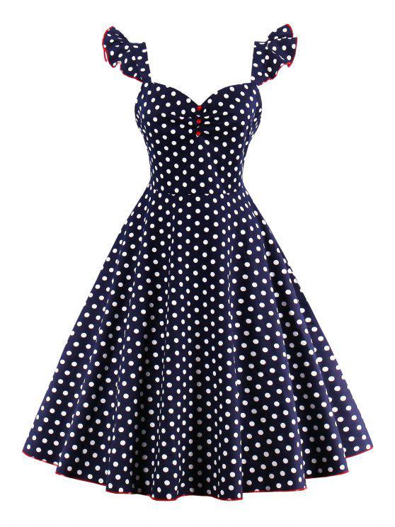 فستان البولكا نقطة زر - الأرجواني الأزرق S