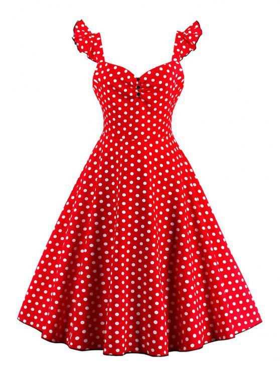 فستان البولكا نقطة زر - أحمر S