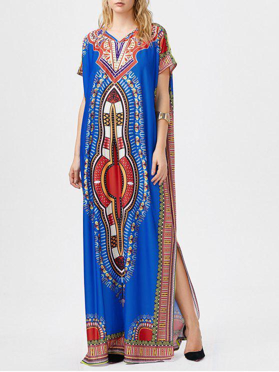 فستان ماكسي بوهيمي طباعة قبلية انقسام - أزرق مقاس واحد