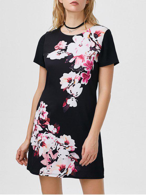 Blumenmuster-Kleid - Schwarz L