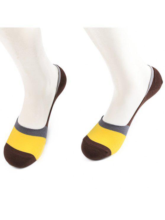 اللون كتلة عدم الانزلاق الجوارب لينر سبيري الجوارب - القهوة والأصفر