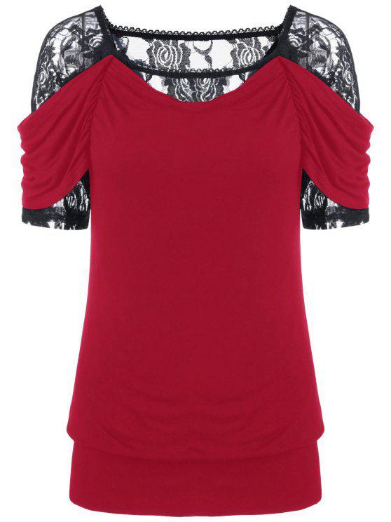 T-shirt à encolure en dentelle - Rouge M