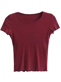 Ruffled Short Sleeve Cropped T-Shirt - Burgundy S