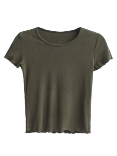 Ruffled Short Sleeve Cropped T-Shirt - Army Green S