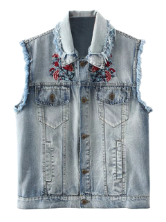 Embroidered Frayed Denim Waistcoat - Cloudy M