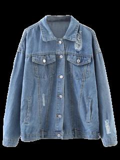 Graphic Distressed Denim Jacket - Light Blue