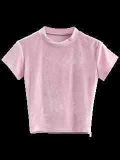 Velvet Crew Neck Cropped T-Shirt - Pink M