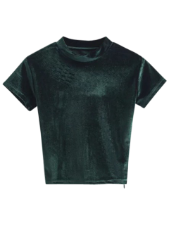 Camiseta Con Cuello De Tripleta De Terciopelo - Verde Negruzco M