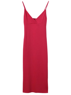 Cami Plunging Neck Surplice Bodycon Dress - Red S