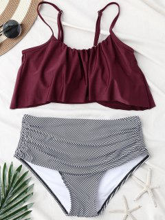 Stripe Panel High Waisted Bikini Set - Wine Red M