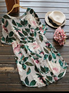 Casual Floral A-Line Dress - Green Xl