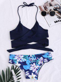 String Floral Panel Bikini Set - Purplish Blue L